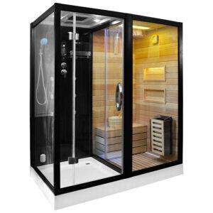MO-1752B PRAWA TRIO, sauna sucha, parowa i kabina prysznicowa 180X110X223cm