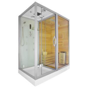 MO-1752W PRAWA TRIO, sauna sucha, parowa i kabina prysznicowa 180X110X223cm