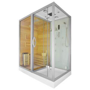 MO-1752W LEWA TRIO, sauna sucha, parowa i kabina prysznicowa 180X110X223cm