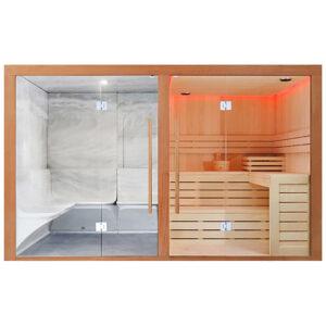 MUE-1816 Sauna sucha z piecem + parowa 340X175X210CM