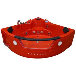 MO-10632R CZERWONA Wanna łazienkowa SPA z hydromasażem 157X157X68cm