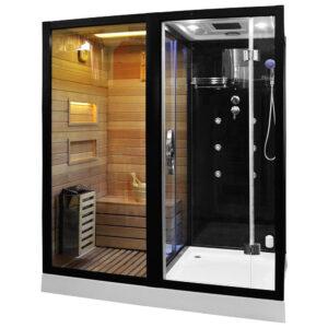 MO-1752B LEWA TRIO, sauna sucha, parowa i kabina prysznicowa 180X110X223cm