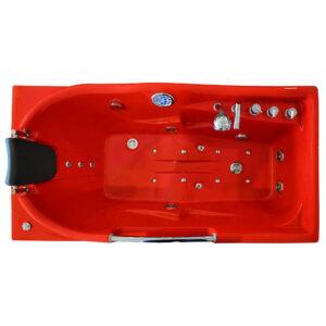 MO-1634R CZERWONA Wanna łazienkowa SPA z hydromasażem 170X85X59cm