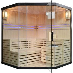 MO-EA4CB CZARNA Sauna sucha z piecem 180X180X200CM