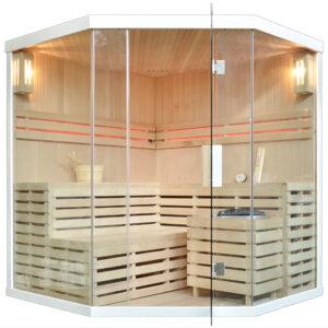 MO-EA4CW BIAŁA Sauna sucha z piecem 180X180X200CM