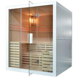 MO-EA4W BIAŁA Sauna sucha z piecem 180X160X200CM