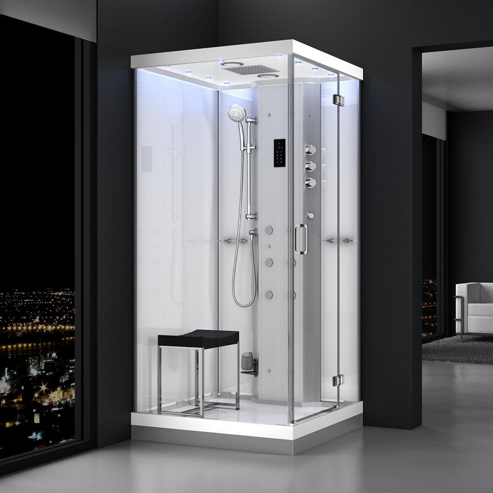 M-SPA - Pravý biely hydromasážny sprchovací box a parná sauna 100 x 100 x 217 cm