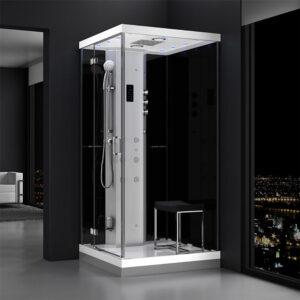 MUE-H1000-22L LEWA CZARNA Kabina prysznicowa z hydromasażem i sauną parową 100X100X217CM
