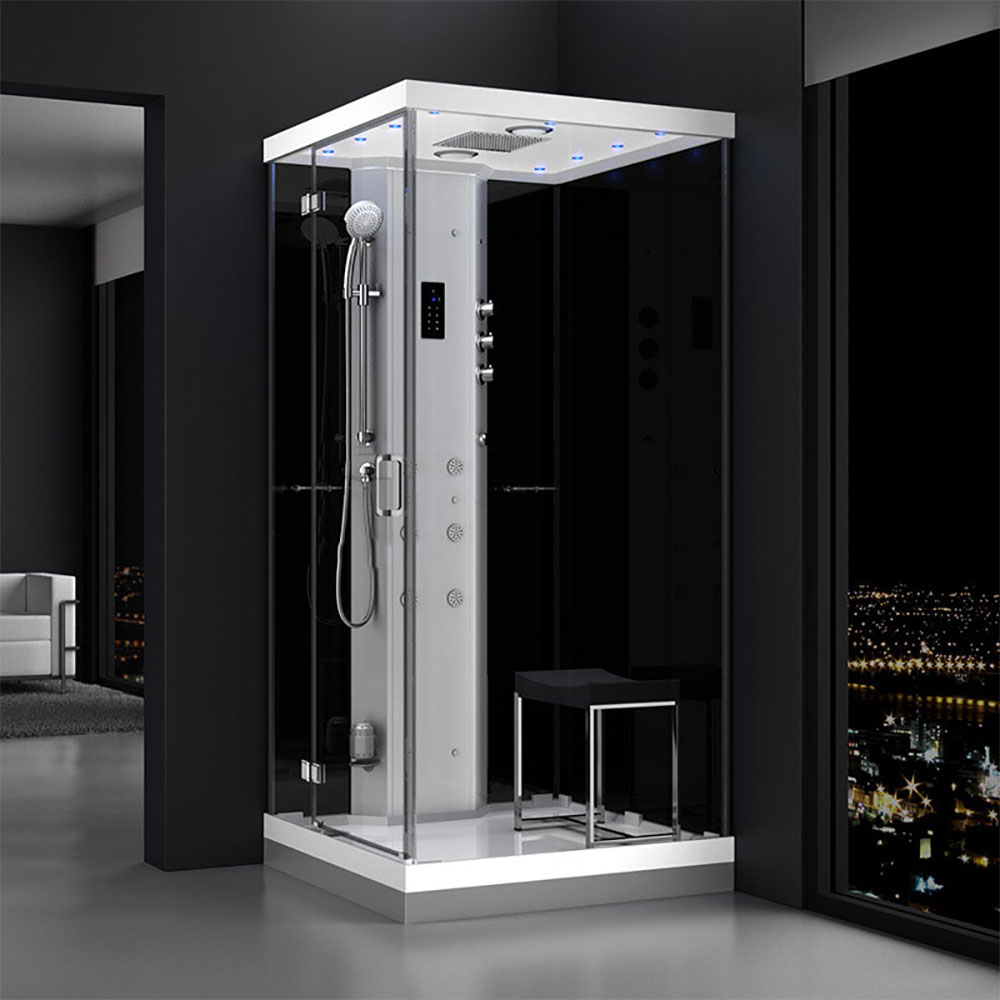 M-SPA - Ľavý čierny sprchovací box s hydromasážou a parnou saunou 100 x 100 x 217 cm