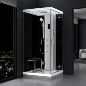 MUE-H1000-22R PRAWA CZARNA Kabina prysznicowa z hydromasażem i sauną parową 100X100X217CM