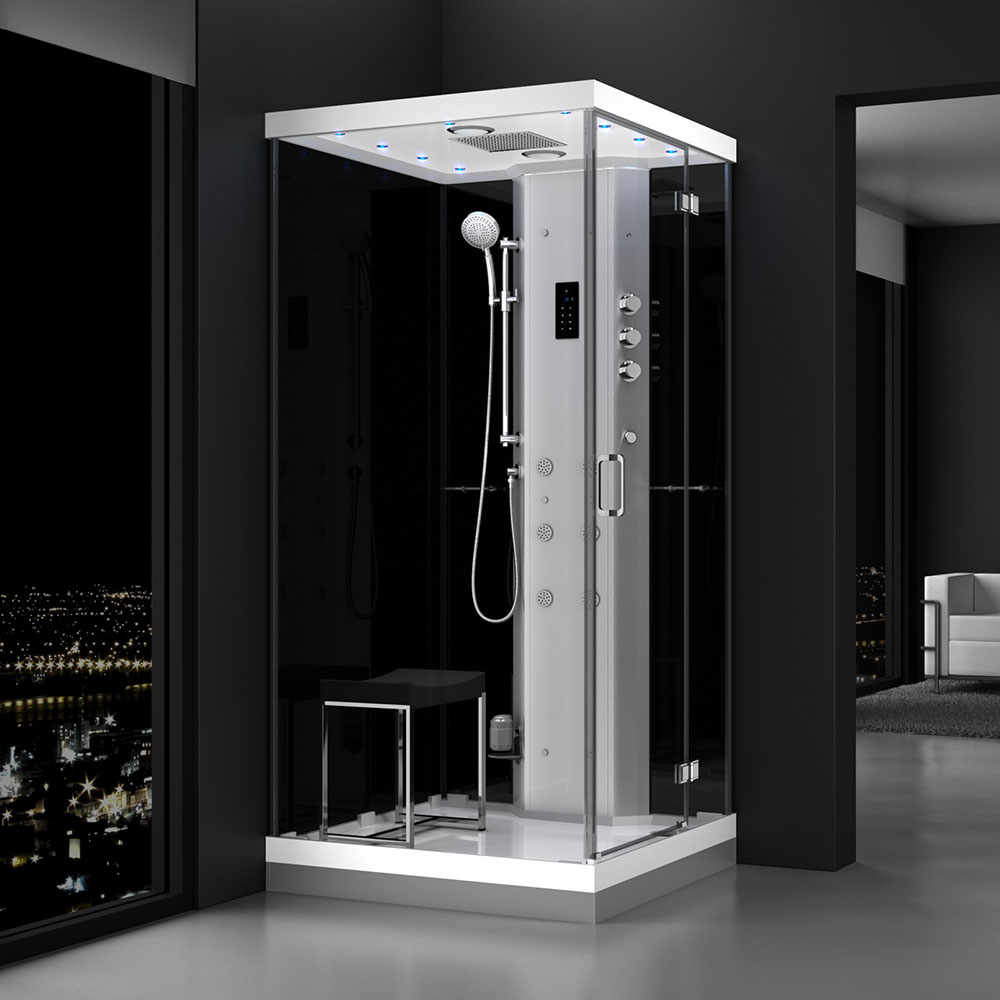 M-SPA - Pravý čierny hydromasážny a parný saunový sprchovací box 100 x 100 x 217 cm
