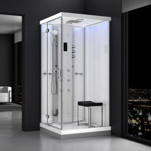 MUE-H1000-12L LEWA BIAŁA Kabina prysznicowa z hydromasażem i sauną parową 100X100X217CM