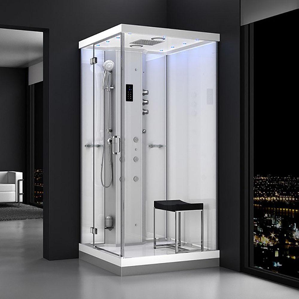 M-SPA - Ľavý biely sprchový box s hydromasážou a parnou saunou 100 x 100 x 217 cm