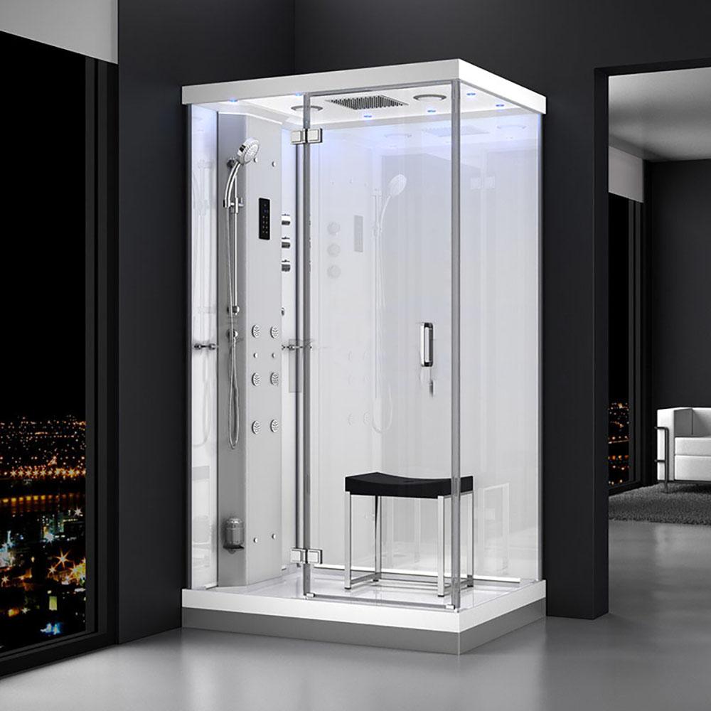M-SPA - Ľavý biely sprchový box s hydromasážou a parnou saunou 120 x 90 x 217 cm