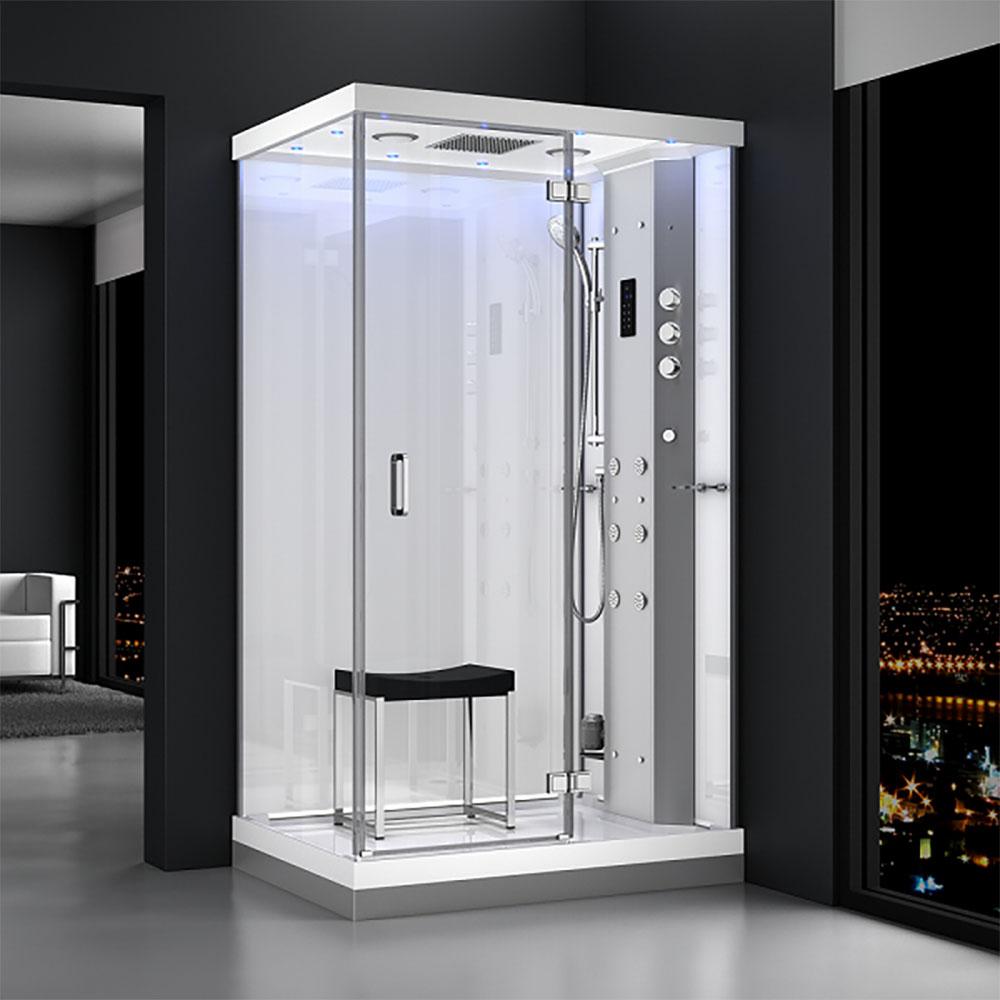 M-SPA - Pravý biely hydromasážny a parný saunový sprchovací box 120 x 90 x 217 cm