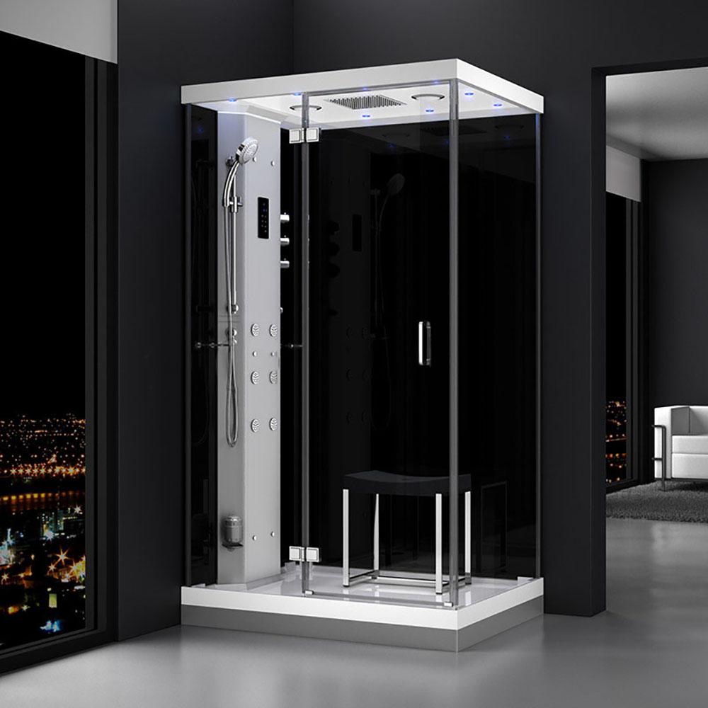 M-SPA - Ľavý čierny sprchový box s hydromasážou a parnou saunou 120 x 90 x 217 cm