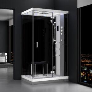 MUE-H1200-21R PRAWA CZARNA Kabina prysznicowa z hydromasażem i sauną parową 120X90X217CM