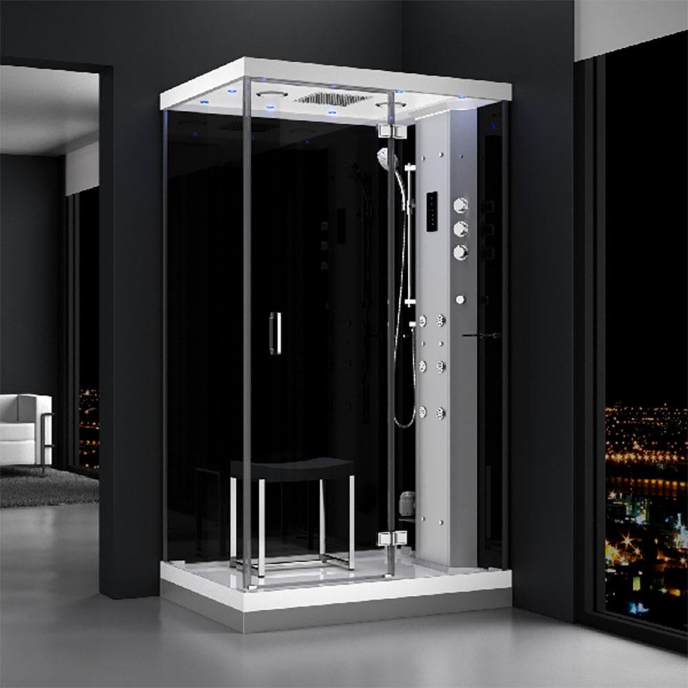 M-SPA - Pravý čierny hydromasážny a parný saunový sprchovací box 120 x 90 x 217 cm