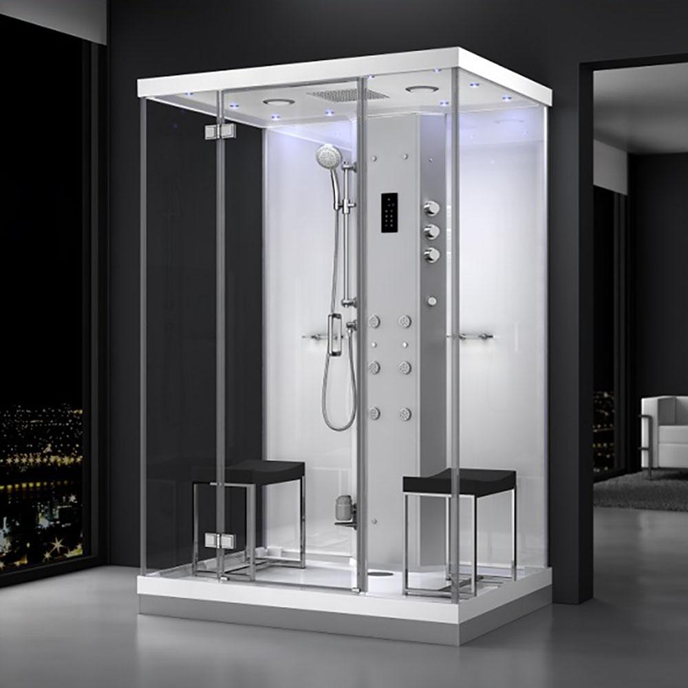 M-SPA - Biely hydromasážny sprchovací box a parná sauna 140 x 90 x 217 cm