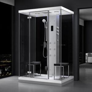 MUE-H1400-21 CZARNA Kabina prysznicowa z hydromasażem i sauną parową 140X90X217CM
