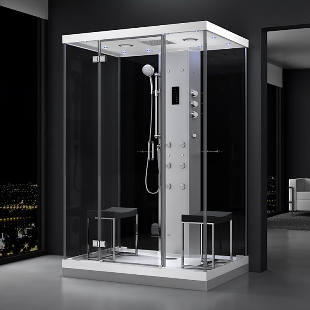 M-SPA - Čierny hydromasážny sprchovací box a parná sauna 140 x 90 x 217 cm