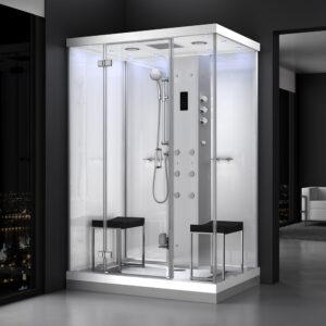 MUE-H1400-12 BIAŁA Kabina prysznicowa z hydromasażem i sauną parową 140X90X217CM