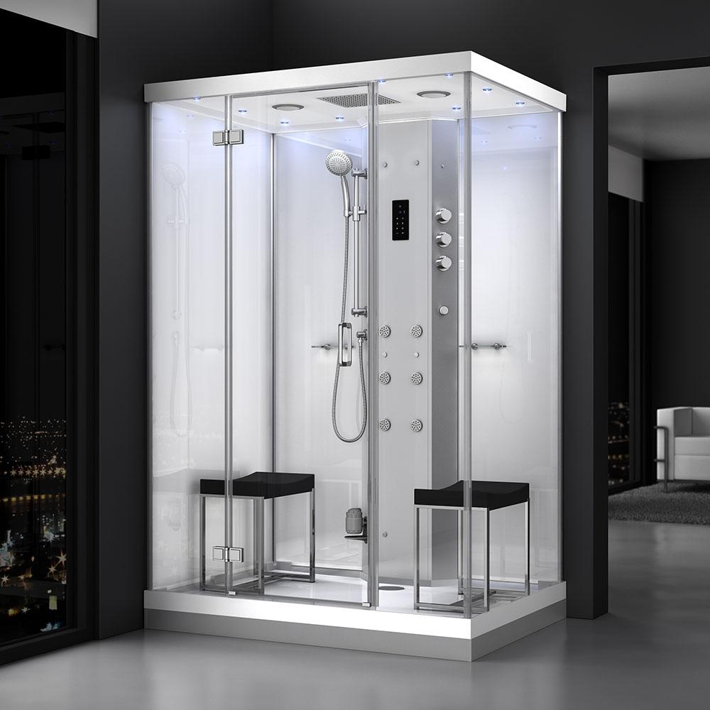 M-SPA - Biely sprchovací box s hydromasážou a parnou saunou 140 x 90 x 217 cm
