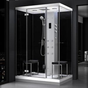 MUE-H1400-22 CZARNA Kabina prysznicowa z hydromasażem i sauną parową 140X90X217CM
