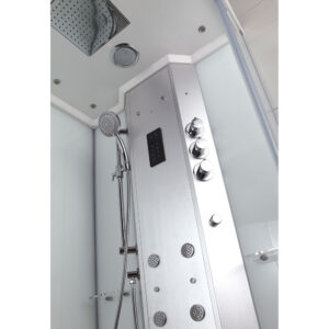 MUE-H1000-12R PRAWA BIAŁA Kabina prysznicowa z hydromasażem i sauną parową 100X100X217CM