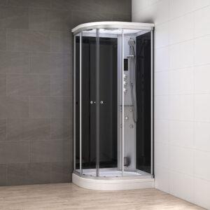 MUE-AC1290R CZARNA Kabina prysznicowa z hydromasażem i sauną parową 120X90X217CM