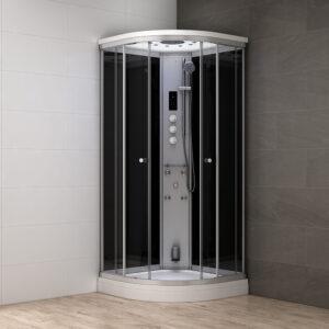 MUE-AF1010 CZARNA Kabina prysznicowa z hydromasażem i sauną parową 100X100X217CM