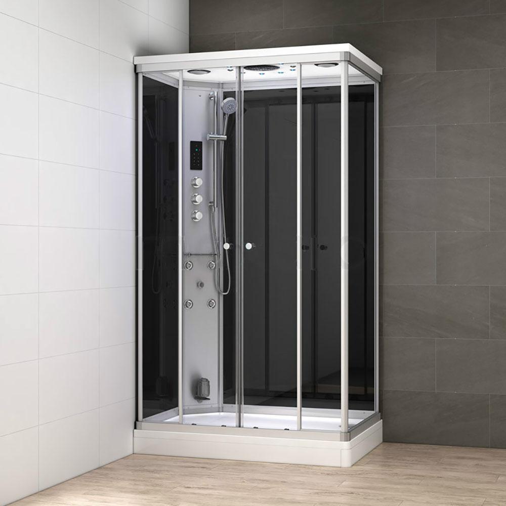 M-SPA - Čierny hydromasážny sprchovací box s parnou saunou 120 x 80 x 217 cm