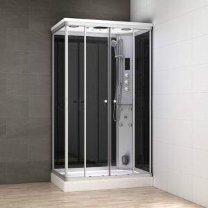 MUE-AR1280-1R CZARNA Kabina prysznicowa z hydromasażem i sauną parową 120X80X217CM