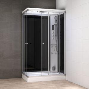 MUE-AR1280-2R CZARNA Kabina prysznicowa z hydromasażem i sauną parową 120X80X217CM