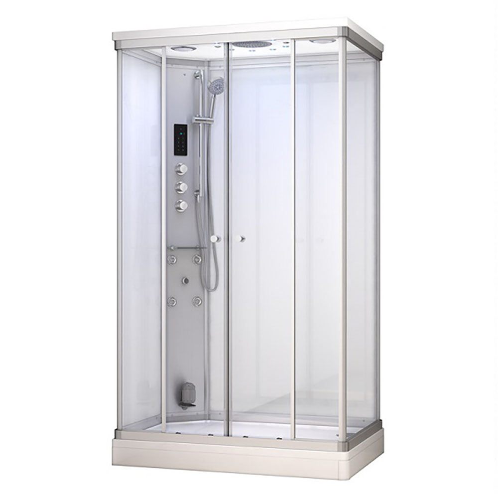 M-SPA - Biely sprchový box s hydromasážou a parnou saunou 120 x 80 x 217 cm