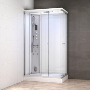 MUE-AR1080L BIAŁA Kabina prysznicowa z hydromasażem i sauną parową 100X80X217CM