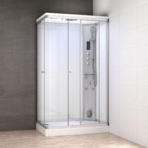 MUE-AR1280-2R BIAŁA Kabina prysznicowa z hydromasażem i sauną parową 120X80X217CM