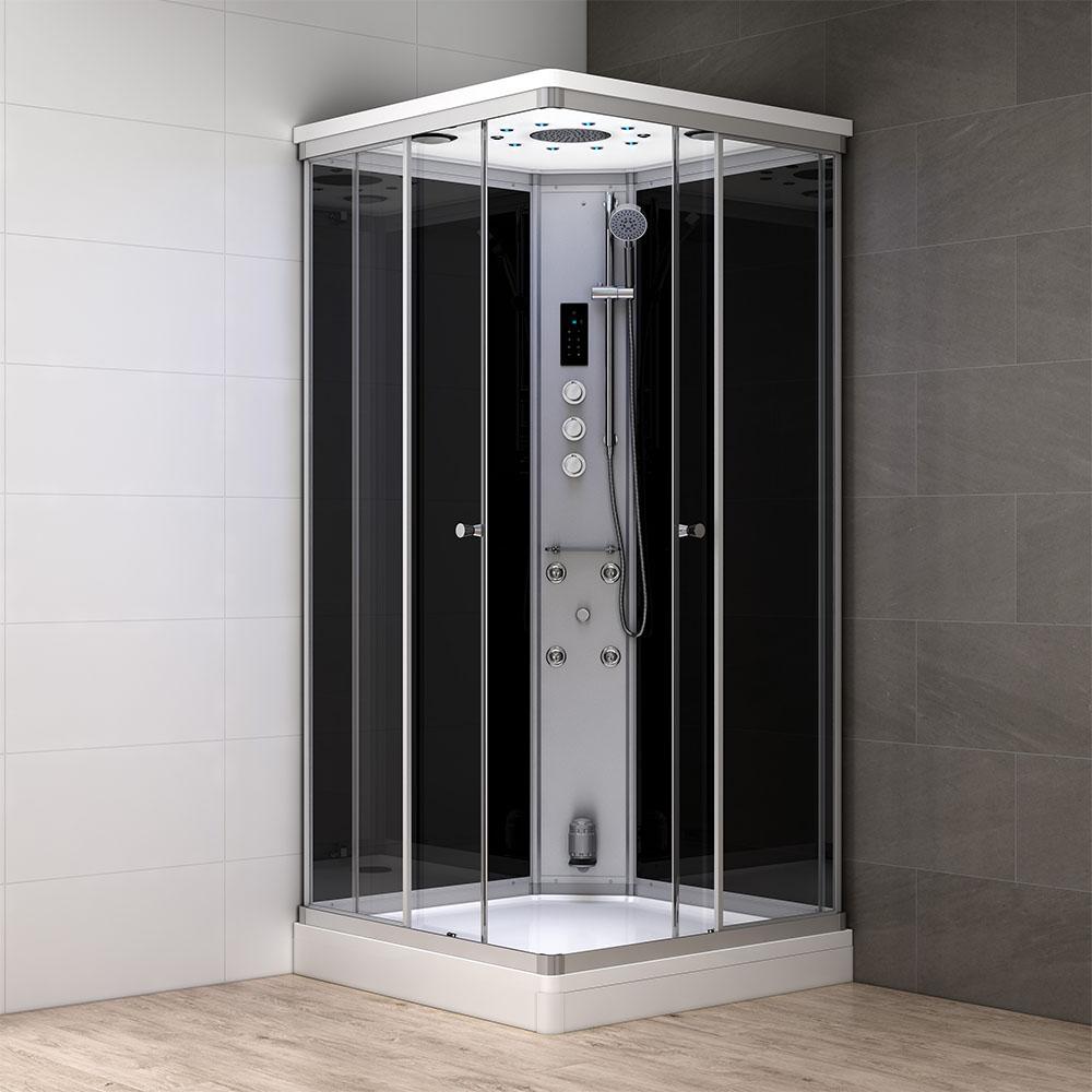 M-SPA - Čierny hydromasážny sprchový box a parná sauna 90 x 90 x 217 cm