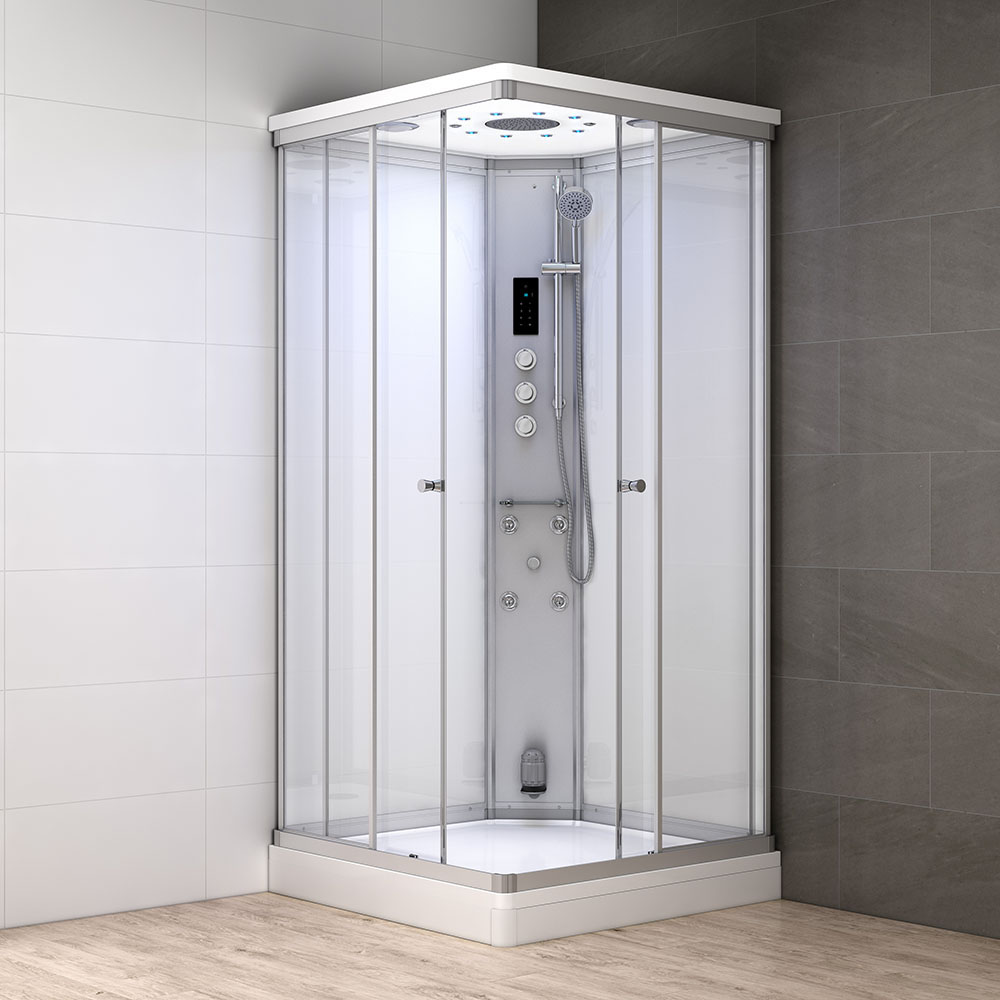 M-SPA - Biely hydromasážny sprchovací box a parná sauna 100 x 100 x 217 cm