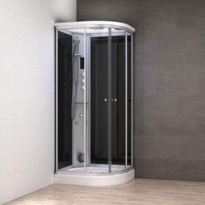 MUE-AC1290L CZARNA Kabina prysznicowa z hydromasażem i sauną parową 120X90X217CM