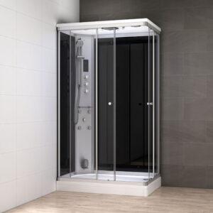 MUE-AR1080L CZARNA Kabina prysznicowa z hydromasażem i sauną parową 100X80X217CM