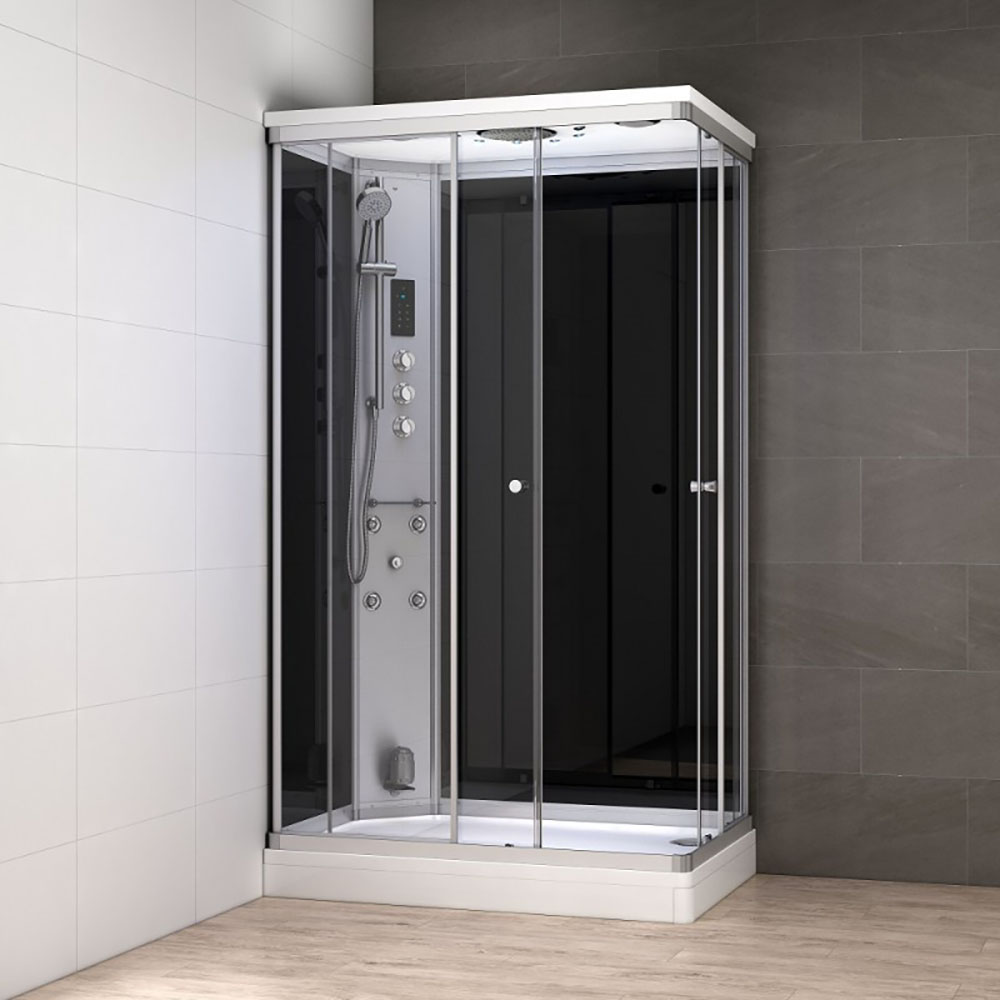 M-SPA - Čierny hydromasážny sprchový box a parná sauna 100 x 80 x 217 cm