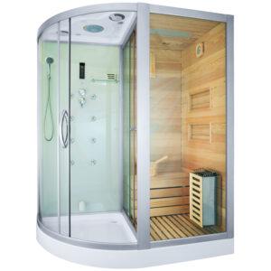MO-1751W PRAWA TRIO, sauna sucha, parowa i kabina prysznicowa 180X110X223cm