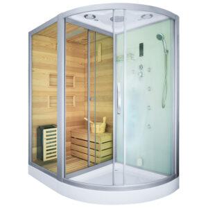 MO-1751W LEWA TRIO, sauna sucha, parowa i kabina prysznicowa 180X110X223cm